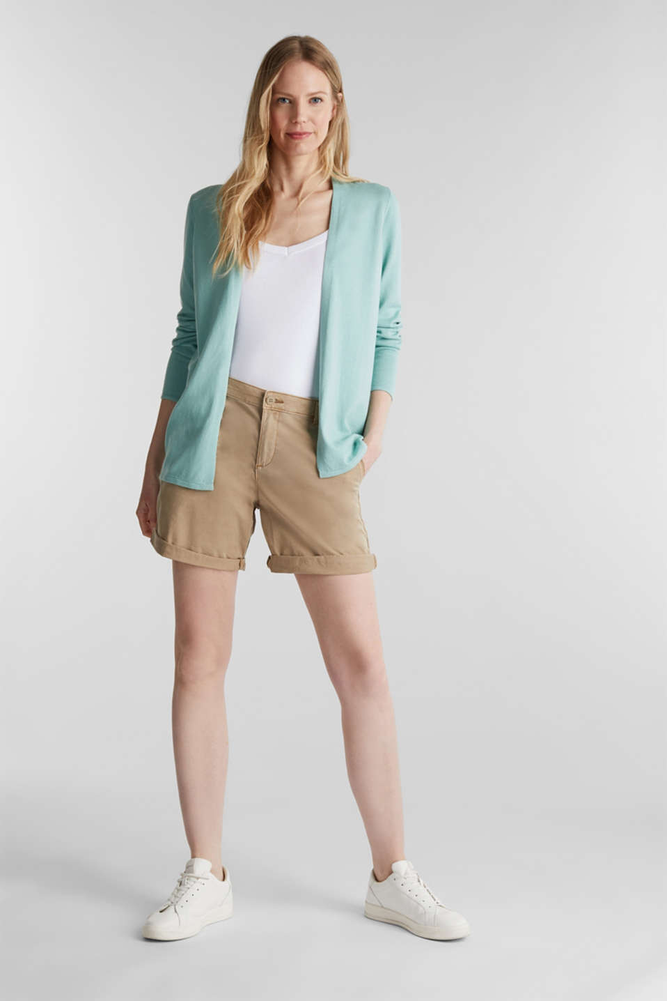 Open cardigan with an openwork pattern, LIGHT AQUA GREEN, detail