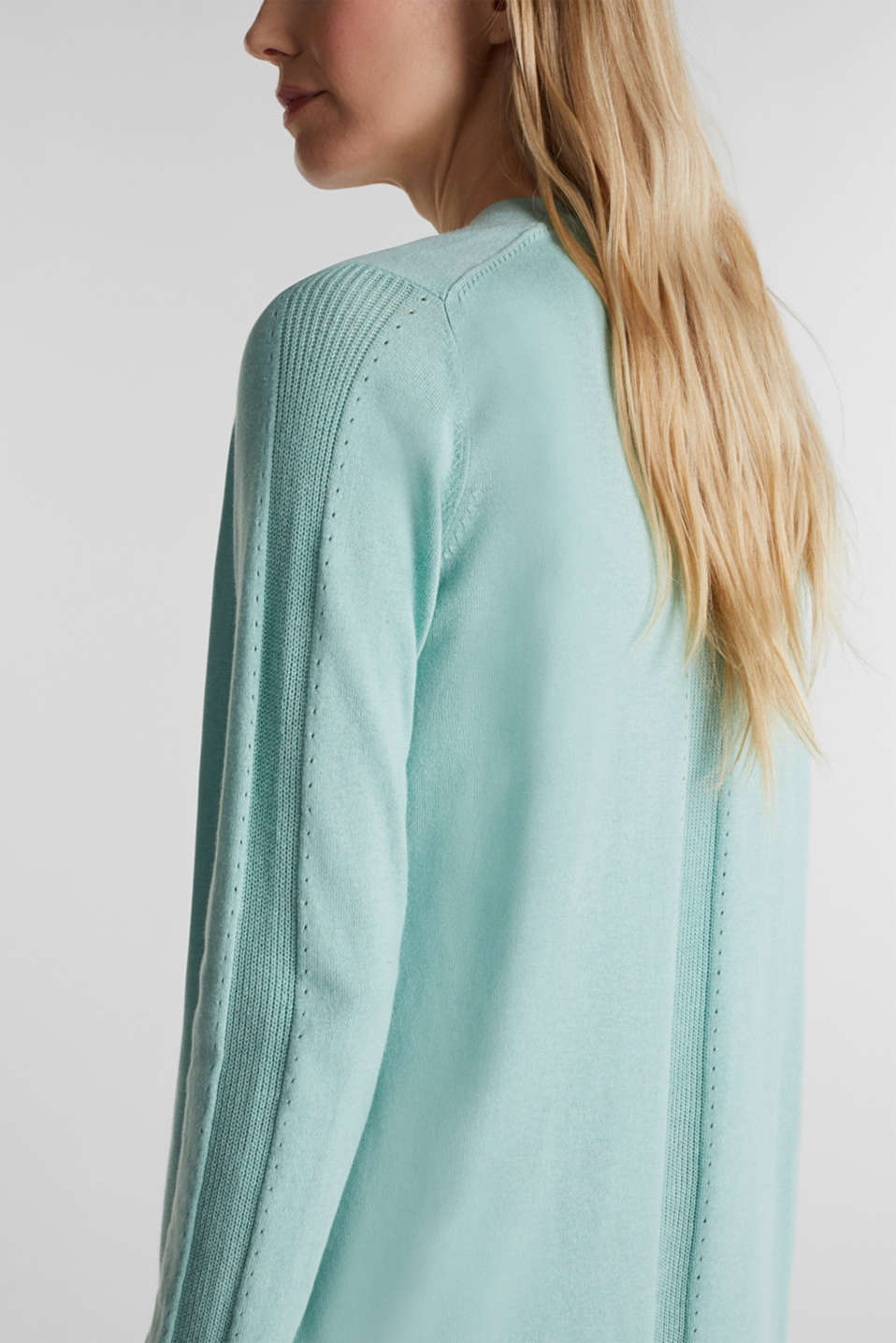 Open cardigan with an openwork pattern, LIGHT AQUA GREEN, detail image number 2