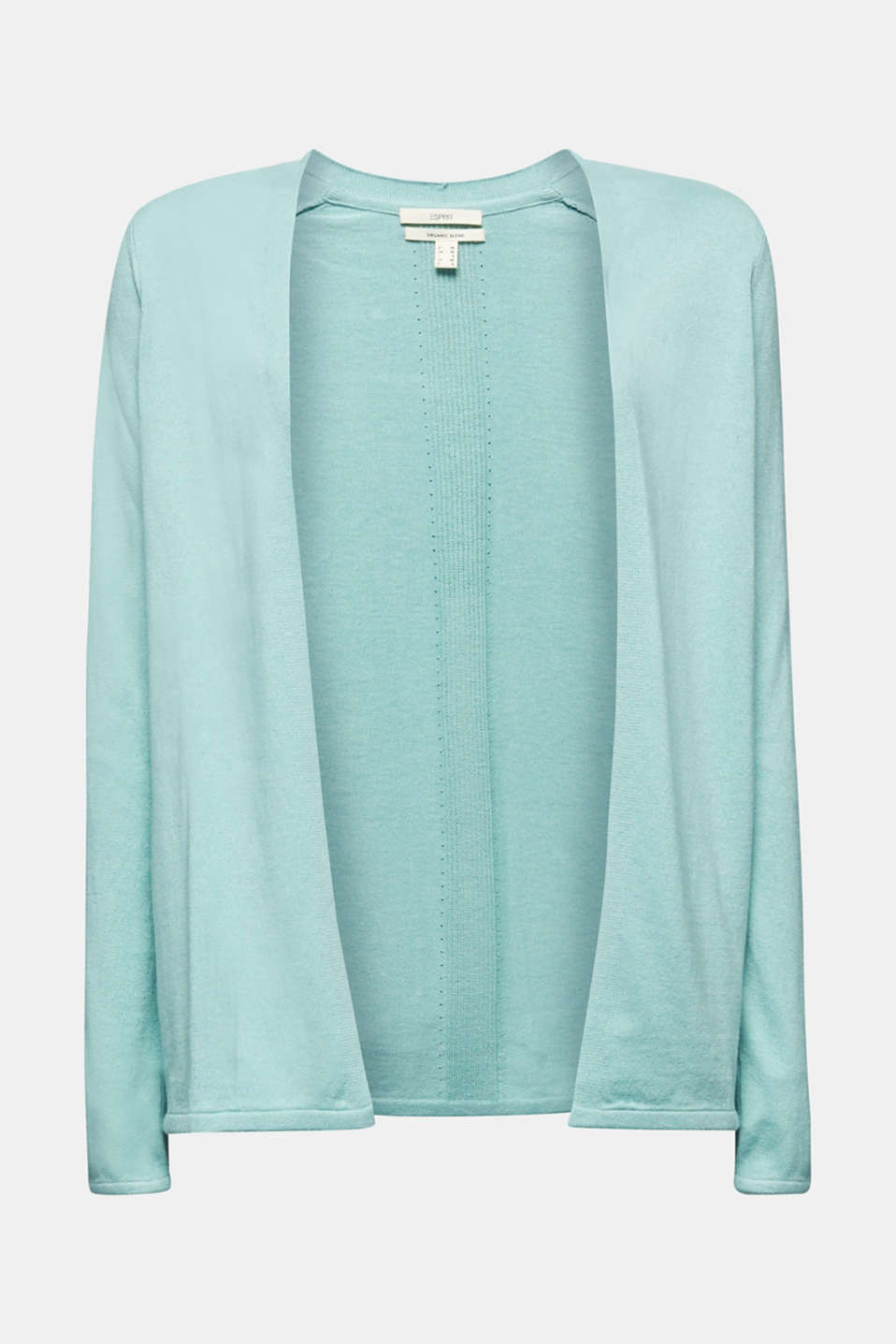 Open cardigan with an openwork pattern, LIGHT AQUA GREEN, detail image number 5