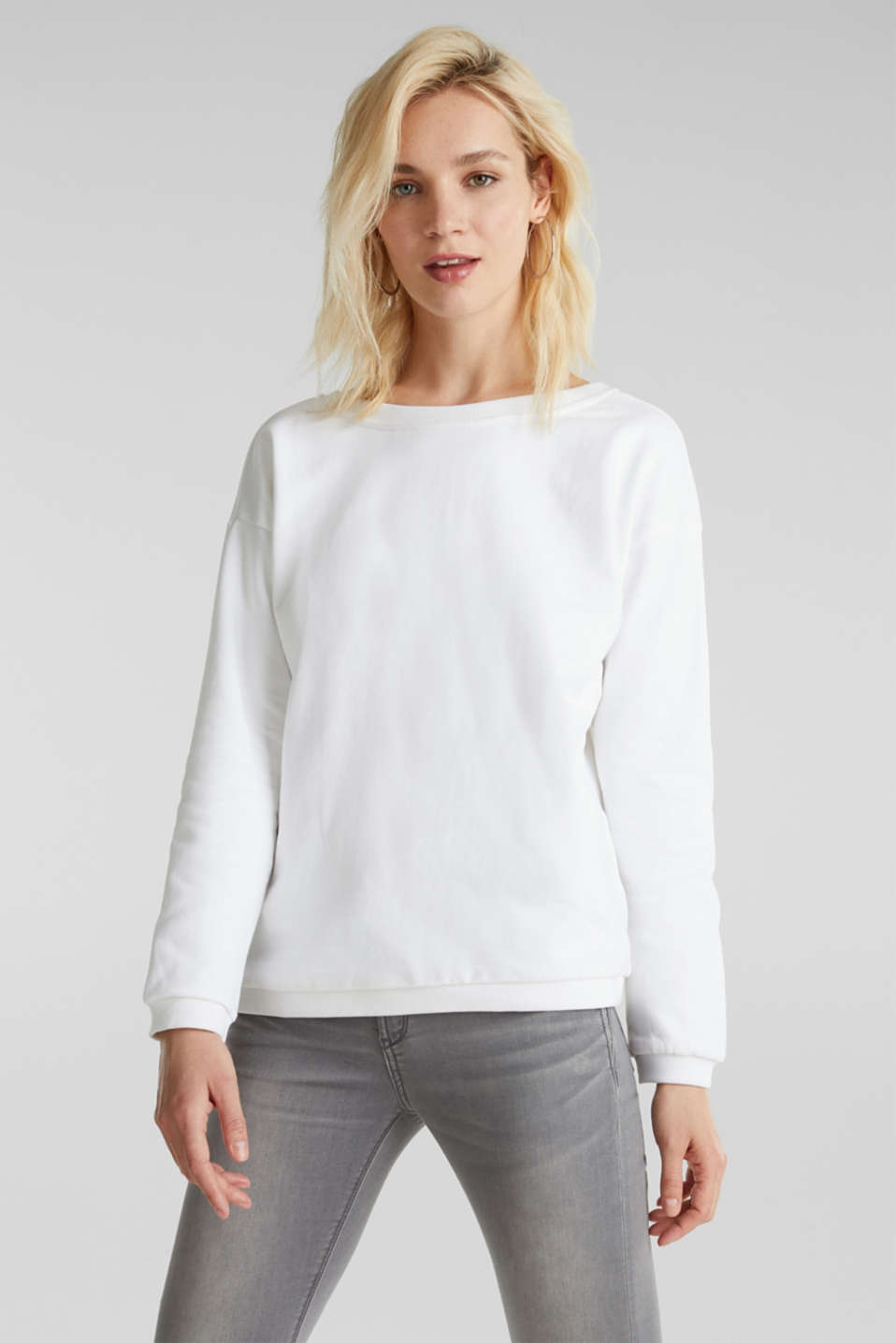 Sweatshirt with a back neckline, 100% cotton, WHITE, detail image number 0