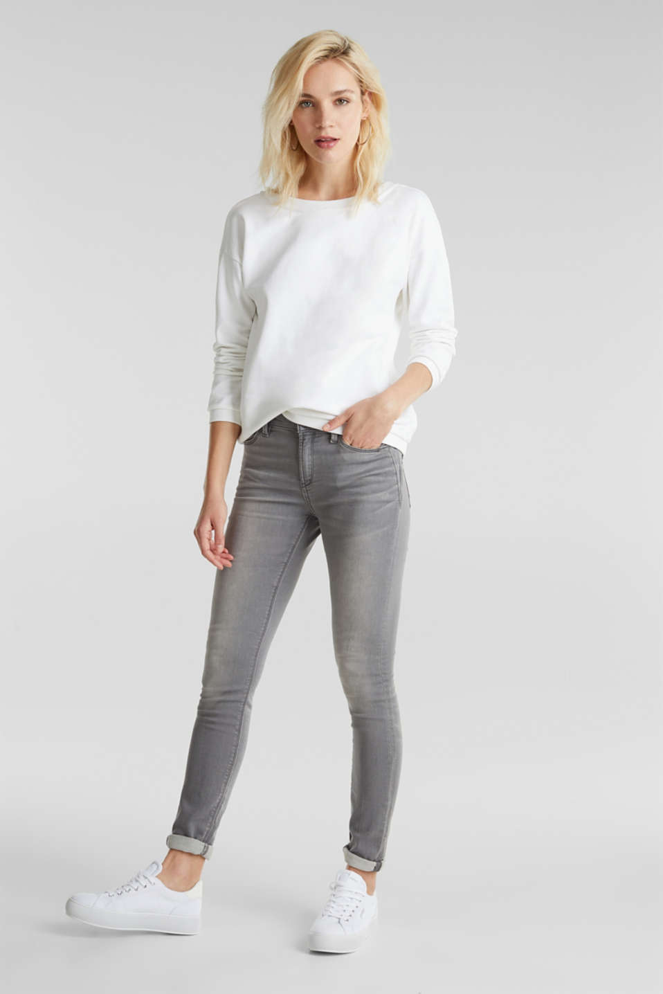 Sweatshirt with a back neckline, 100% cotton, WHITE, detail image number 1