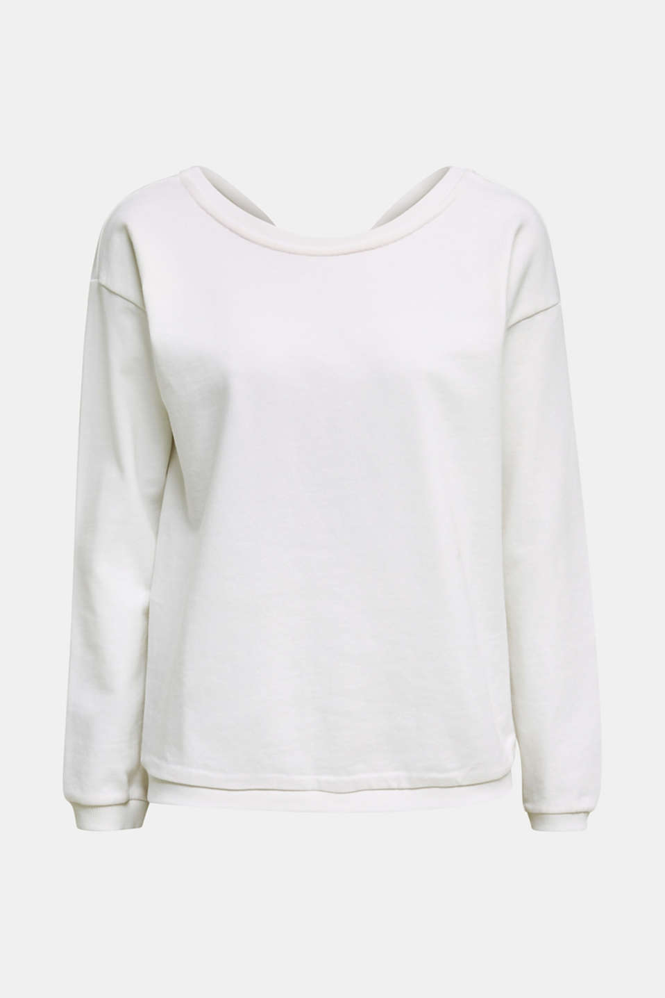 Sweatshirt with a back neckline, WHITE, detail image number 5
