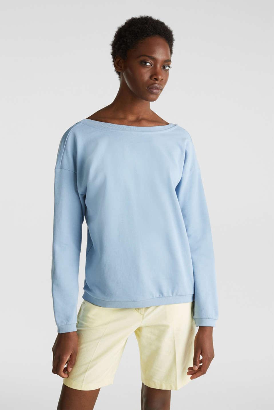 Sweatshirt with a back neckline, LIGHT BLUE, detail image number 0