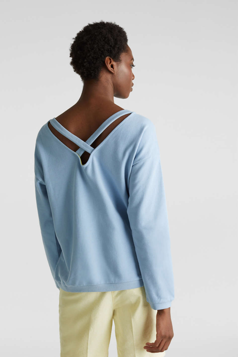 Sweatshirt with a back neckline, LIGHT BLUE, detail image number 3