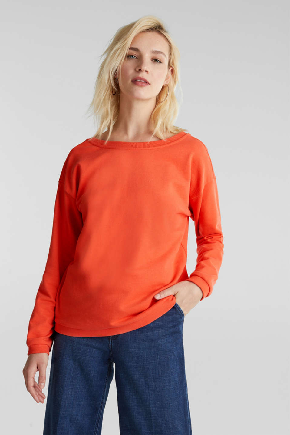 Sweatshirt with a back neckline, CORAL, detail image number 0