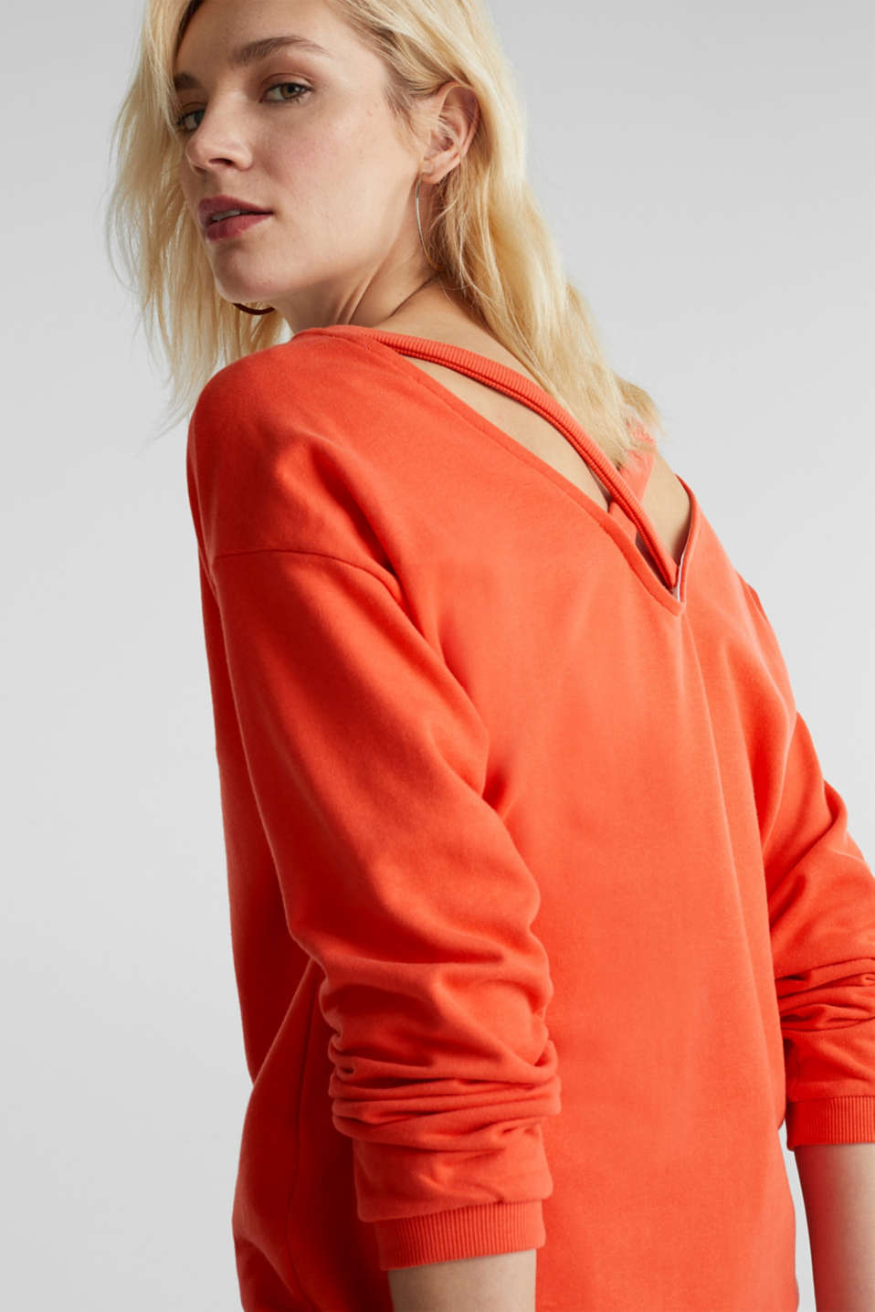 Sweatshirt with a back neckline, CORAL, detail image number 4