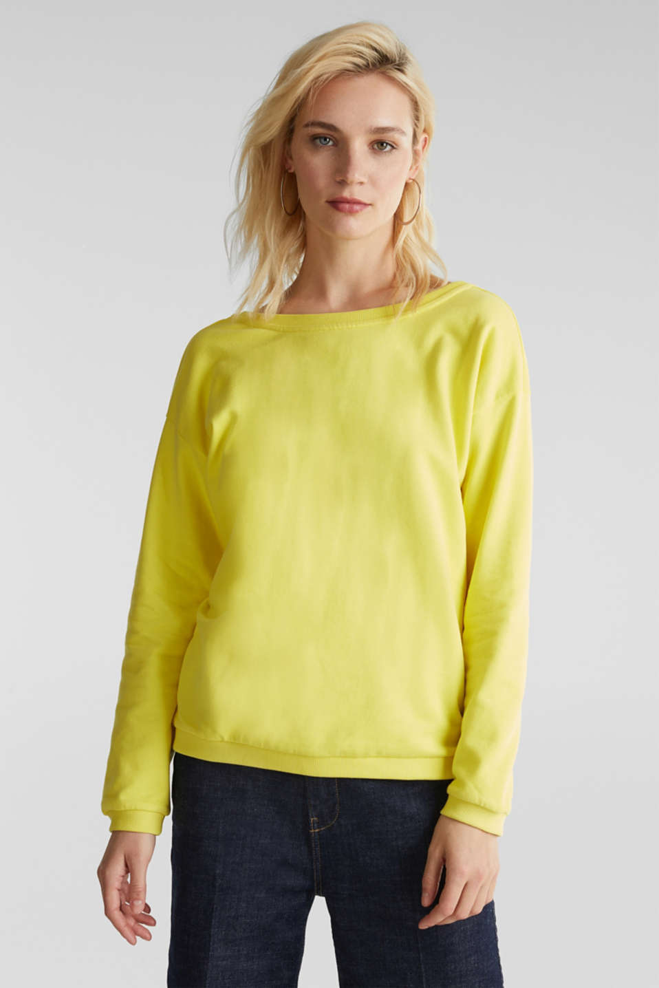 Sweatshirt with a back neckline, BRIGHT YELLOW, detail image number 0