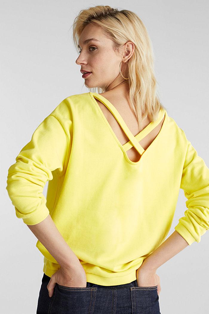 Sweatshirt mit Rücken-Ausschnitt, BRIGHT YELLOW, detail image number 3