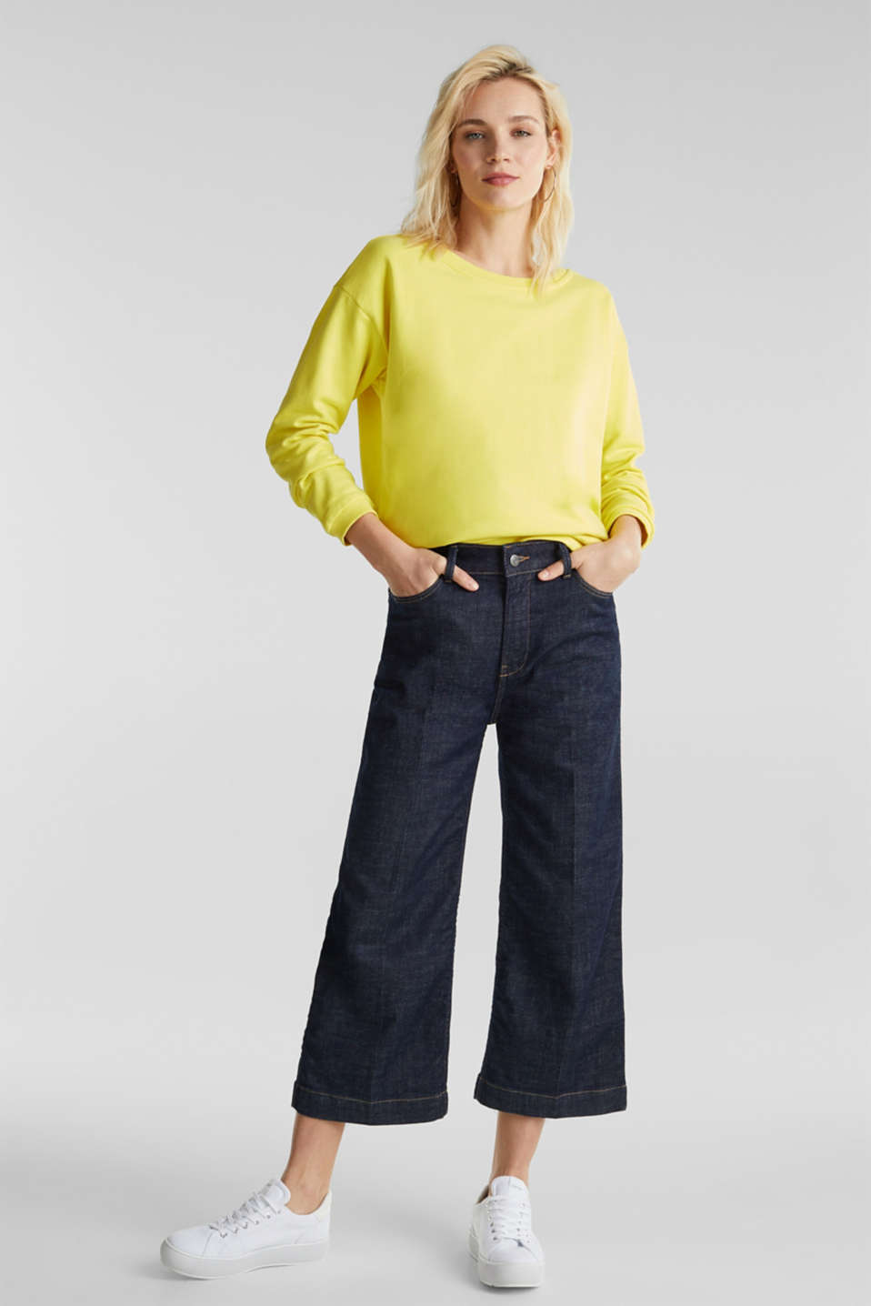 Sweatshirt with a back neckline, BRIGHT YELLOW, detail image number 1