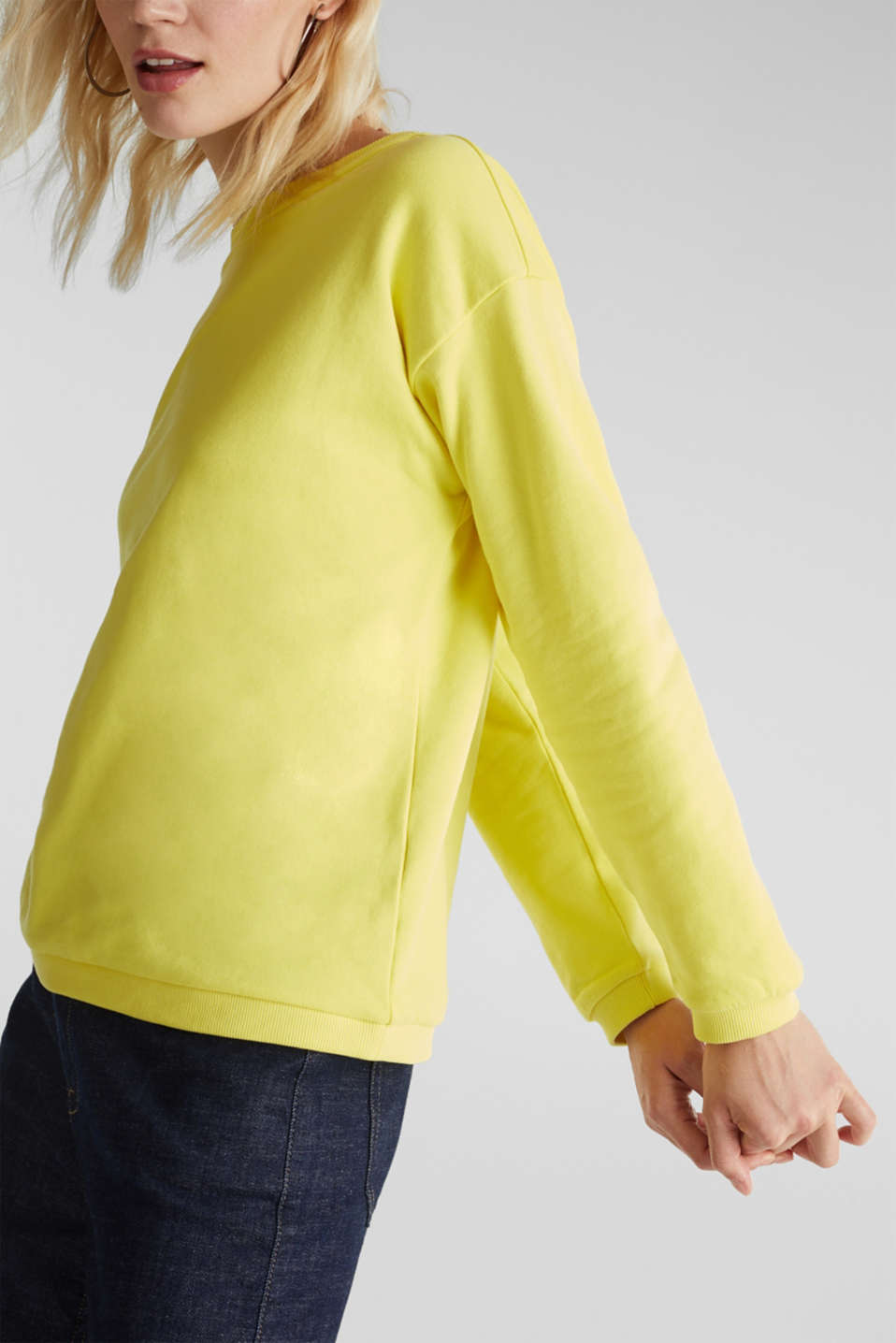Sweatshirt with a back neckline, BRIGHT YELLOW, detail image number 2