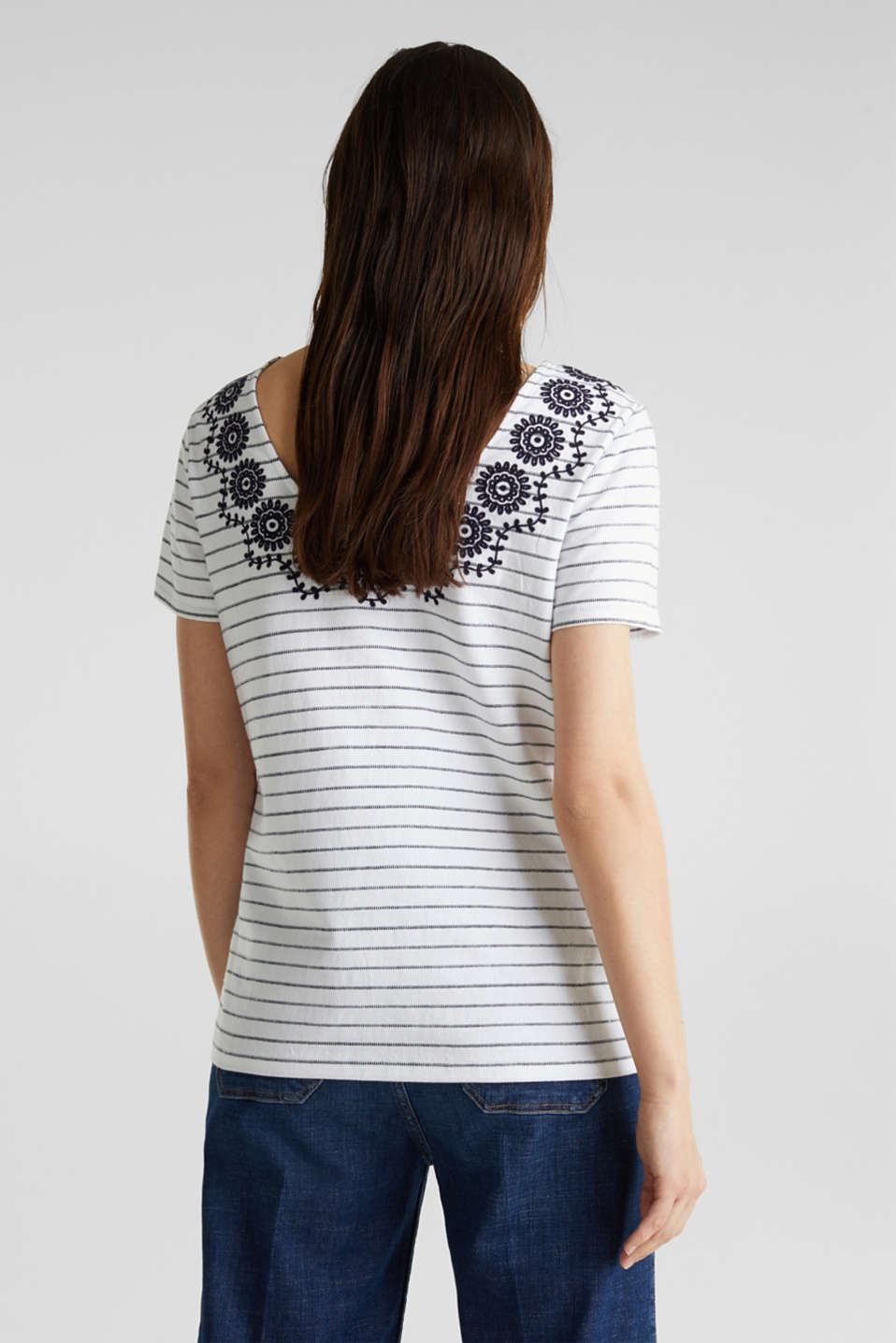 Striped top with embroidery, NAVY, detail image number 3