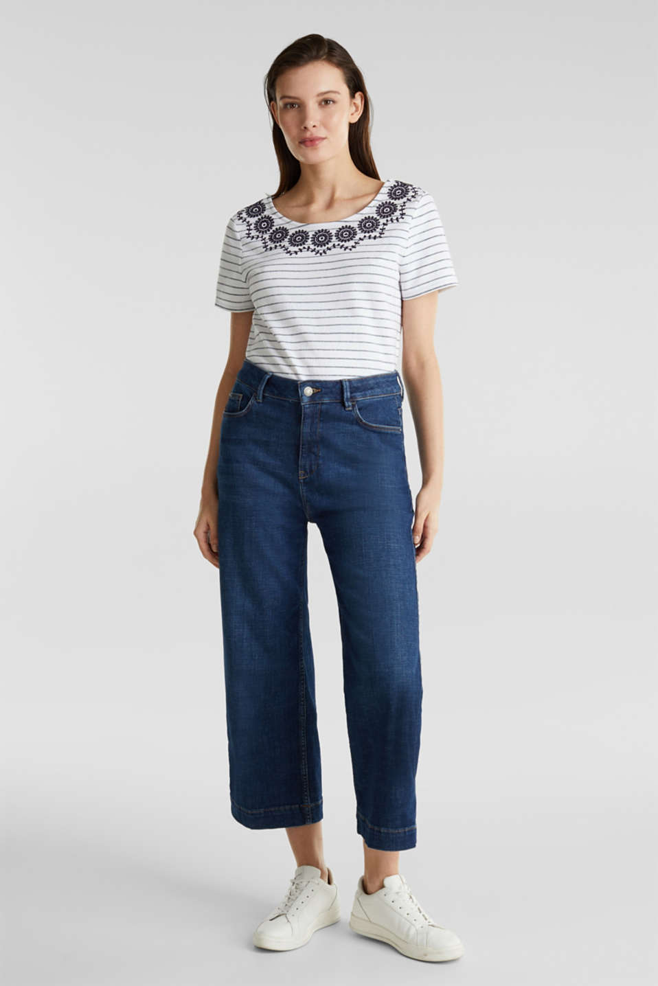 Striped top with embroidery, NAVY, detail image number 1