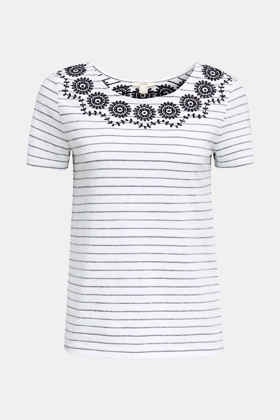 Striped top with embroidery, NAVY, detail image number 5