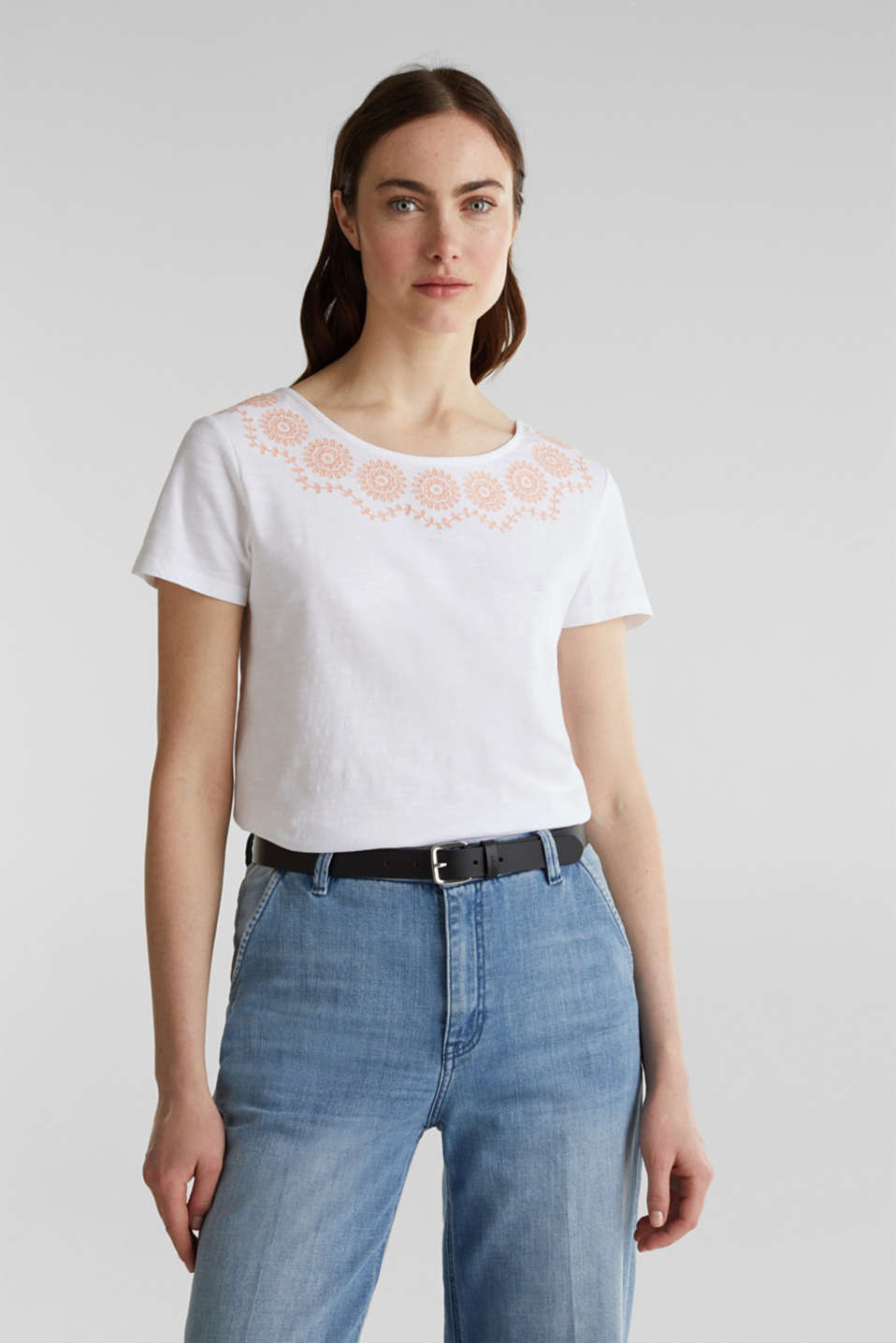 Slub top with embroidery, 100% cotton, WHITE, detail image number 0