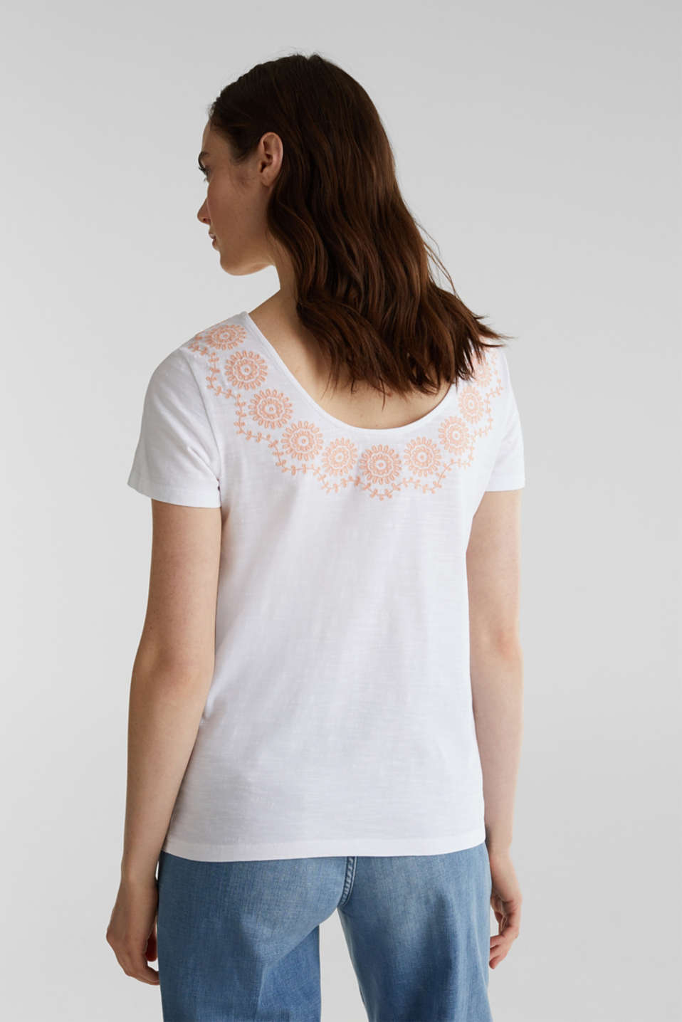 Slub top with embroidery, 100% cotton, WHITE, detail image number 3