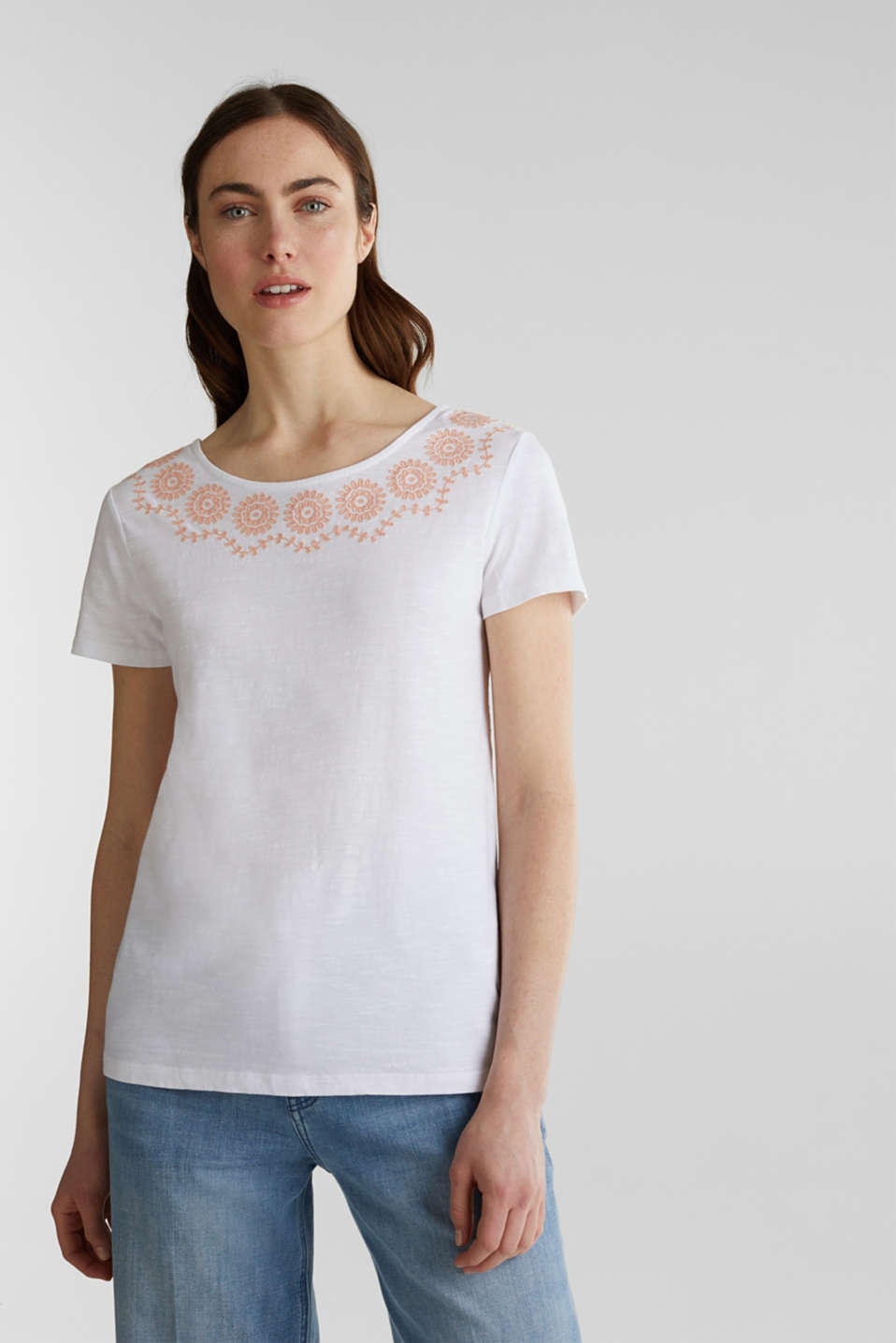Slub top with embroidery, 100% cotton, WHITE, detail image number 6