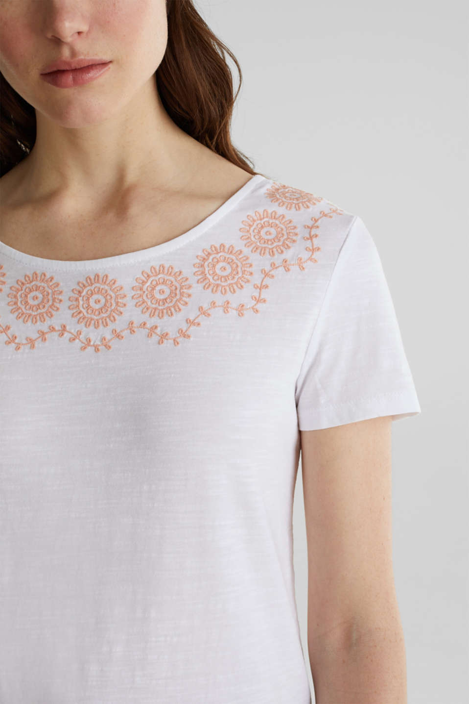 Slub top with embroidery, 100% cotton, WHITE, detail image number 2