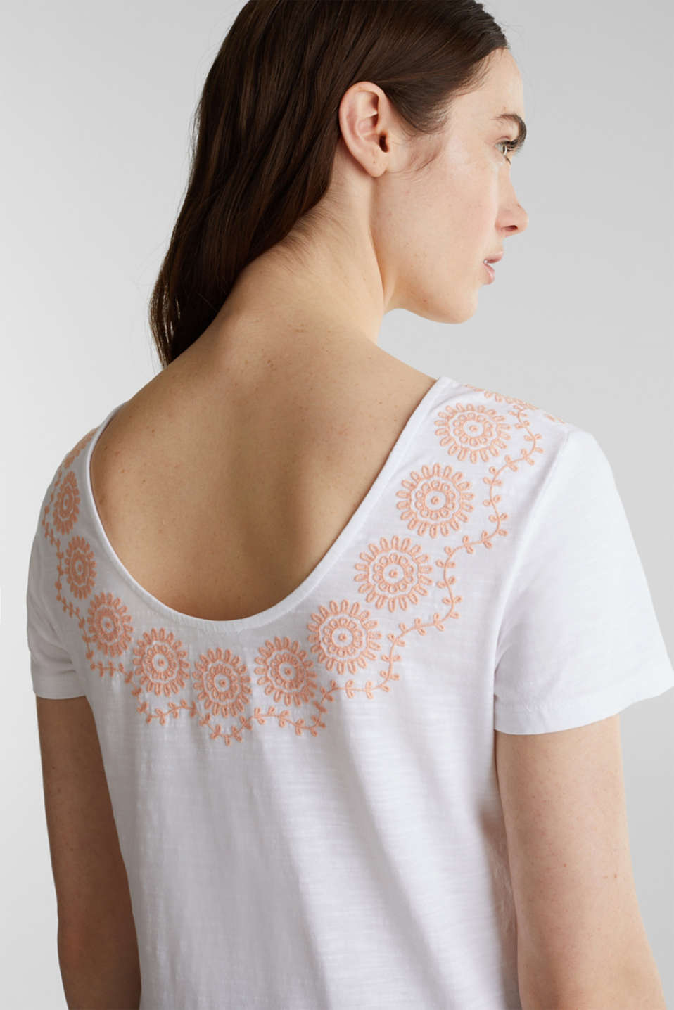 Slub top with embroidery, 100% cotton, WHITE, detail image number 5