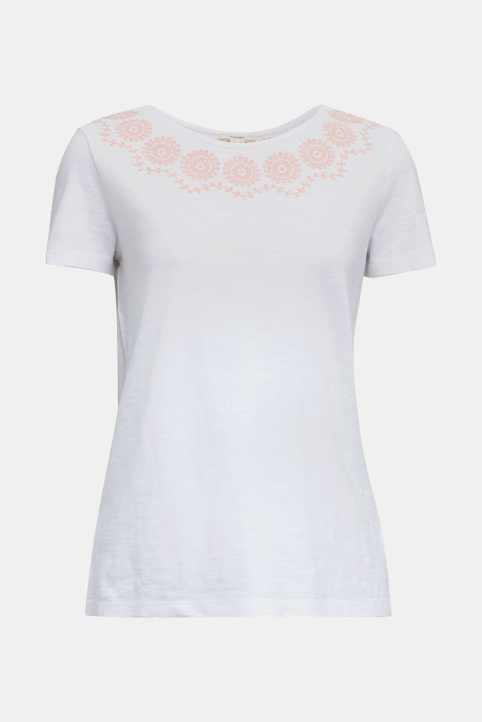 Slub top with embroidery, 100% cotton, WHITE, detail image number 7