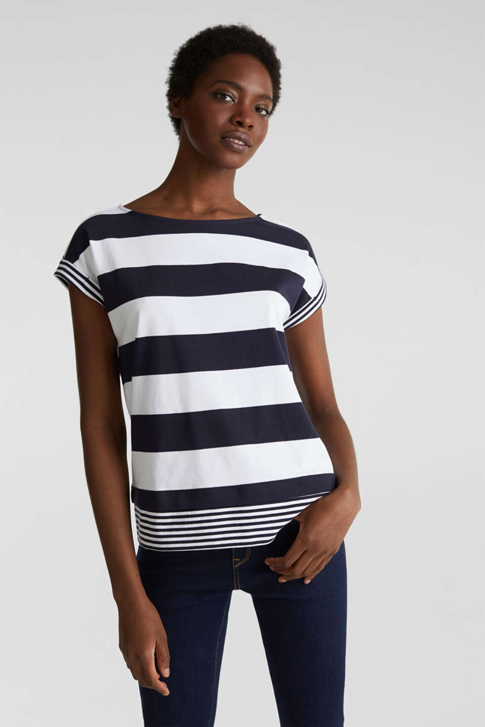 Striped top, 100% organic cotton, NAVY, detail image number 0