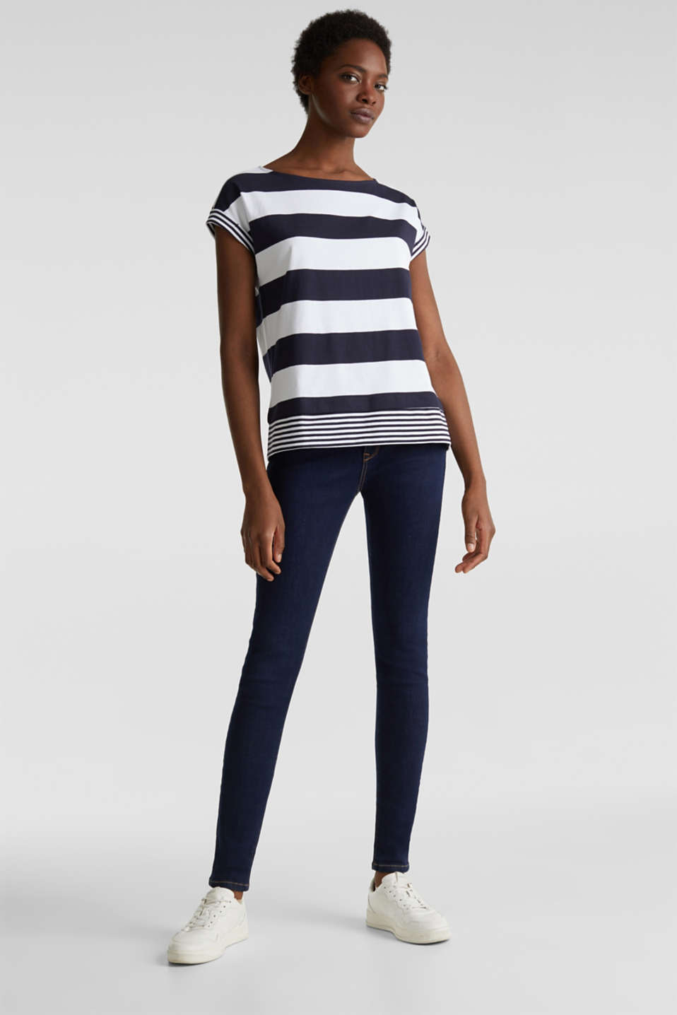 Striped top, 100% organic cotton, NAVY, detail image number 1