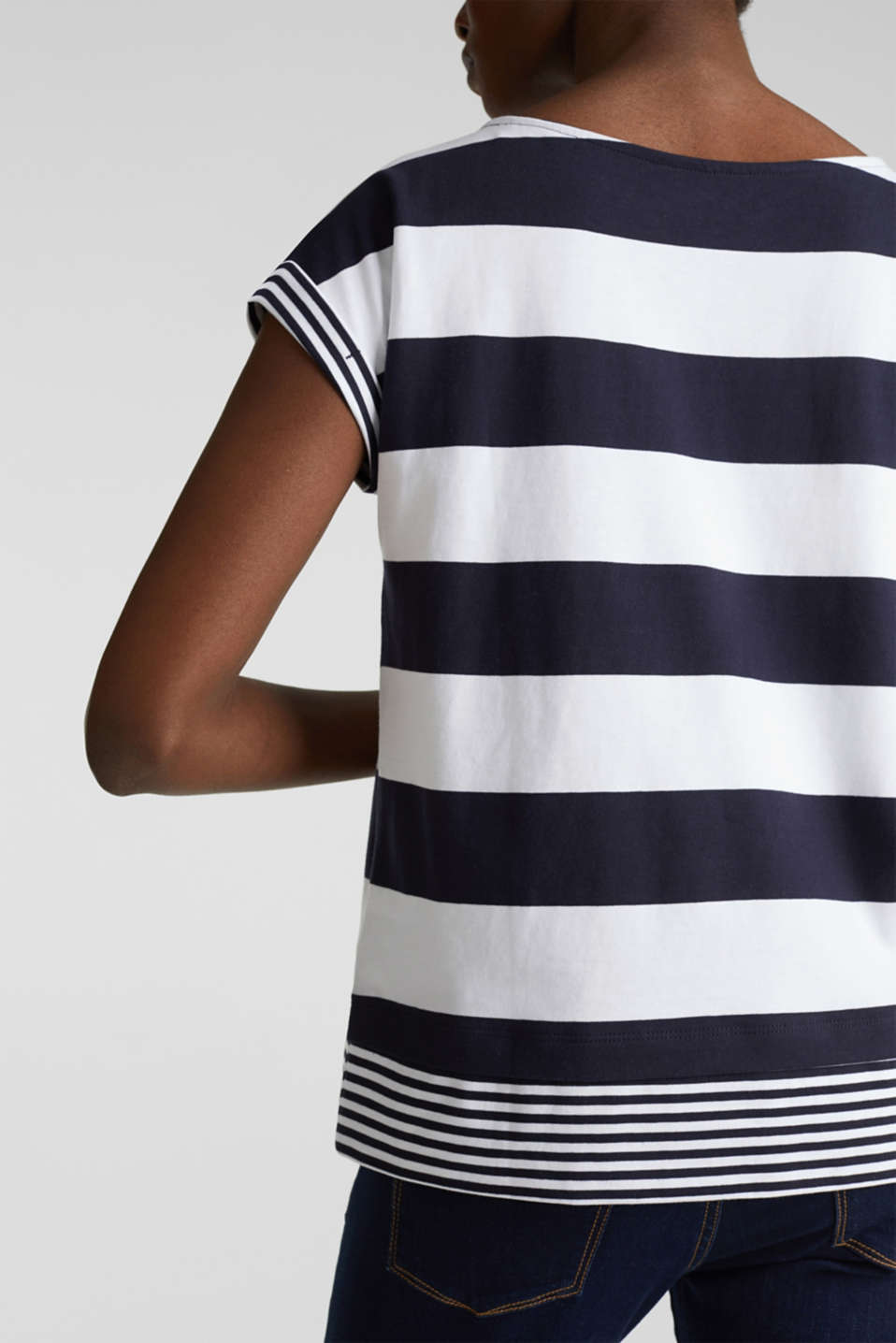 Striped top, 100% organic cotton, NAVY, detail image number 2