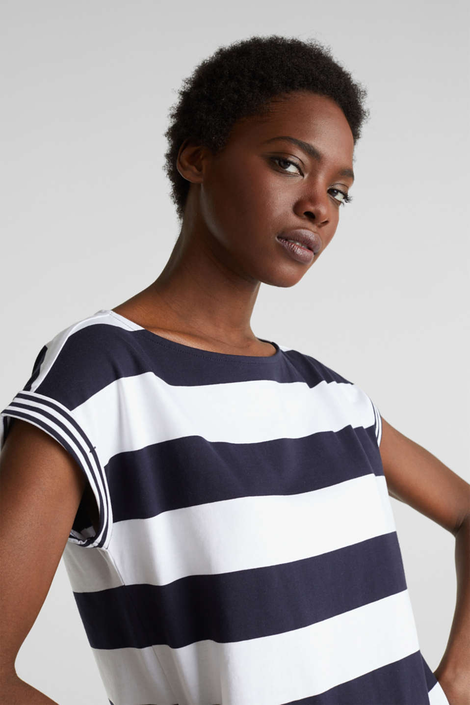 Striped top, 100% organic cotton, NAVY, detail image number 6