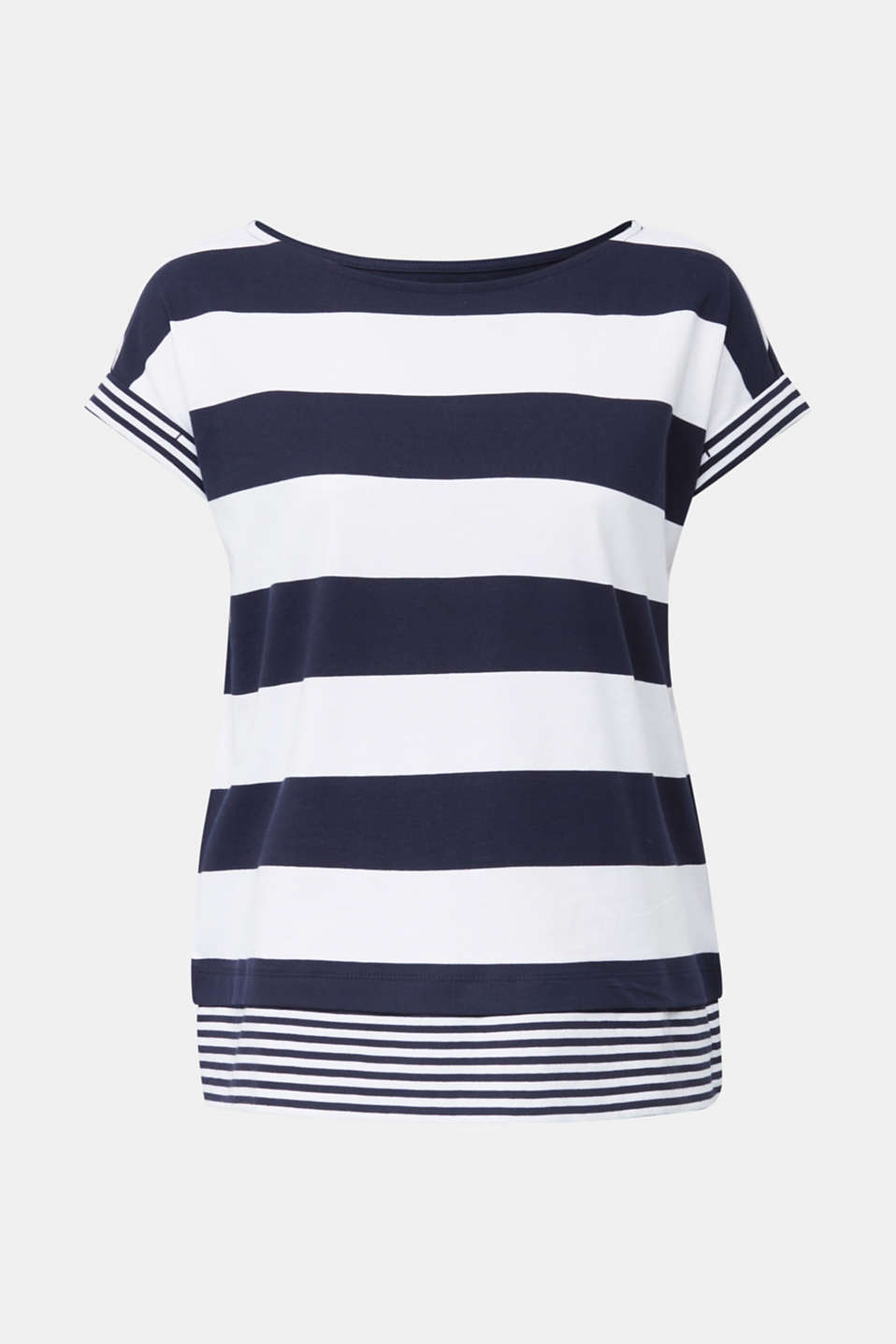 Striped top, 100% organic cotton, NAVY, detail image number 7