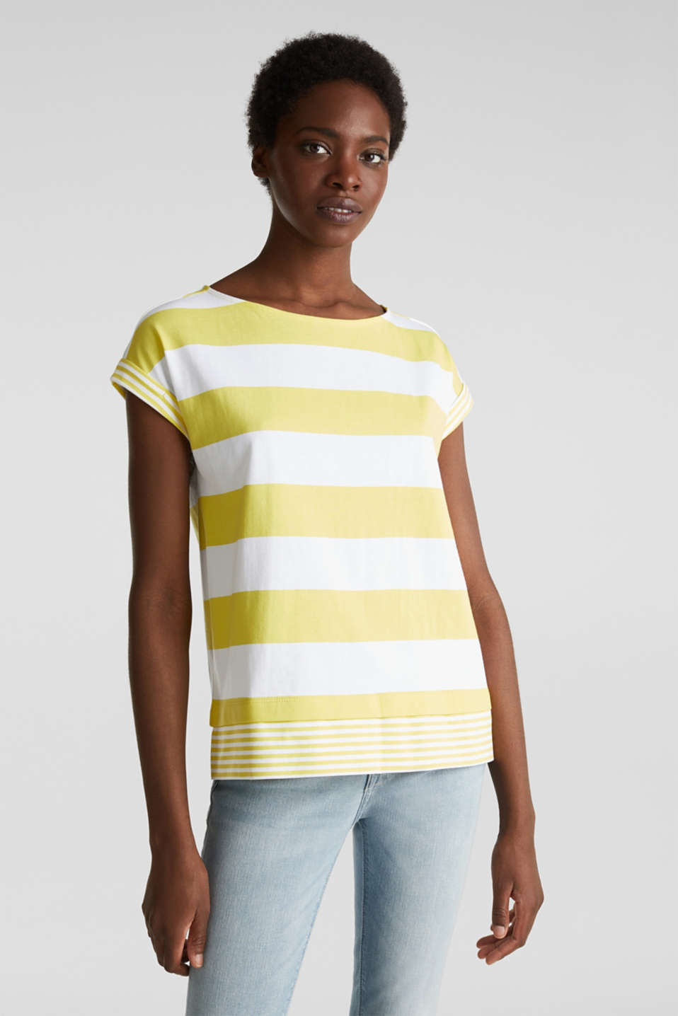 Striped top made of 100% organic cotton, BRIGHT YELLOW 4, detail image number 0