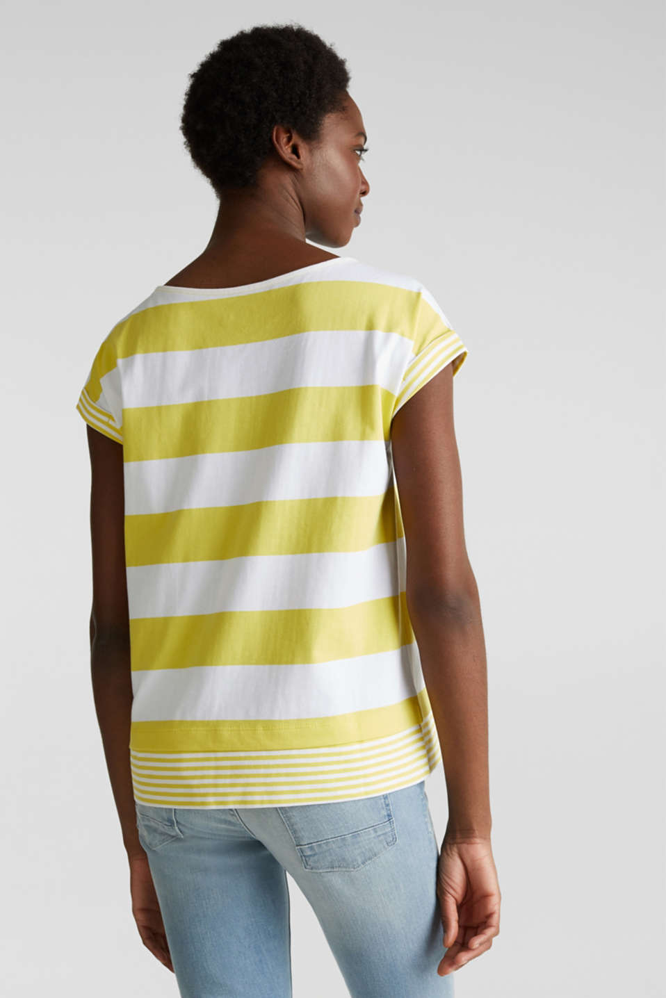 Striped top made of 100% organic cotton, BRIGHT YELLOW 4, detail image number 3
