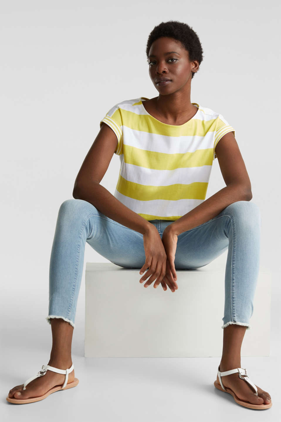 Striped top made of 100% organic cotton, BRIGHT YELLOW 4, detail image number 6