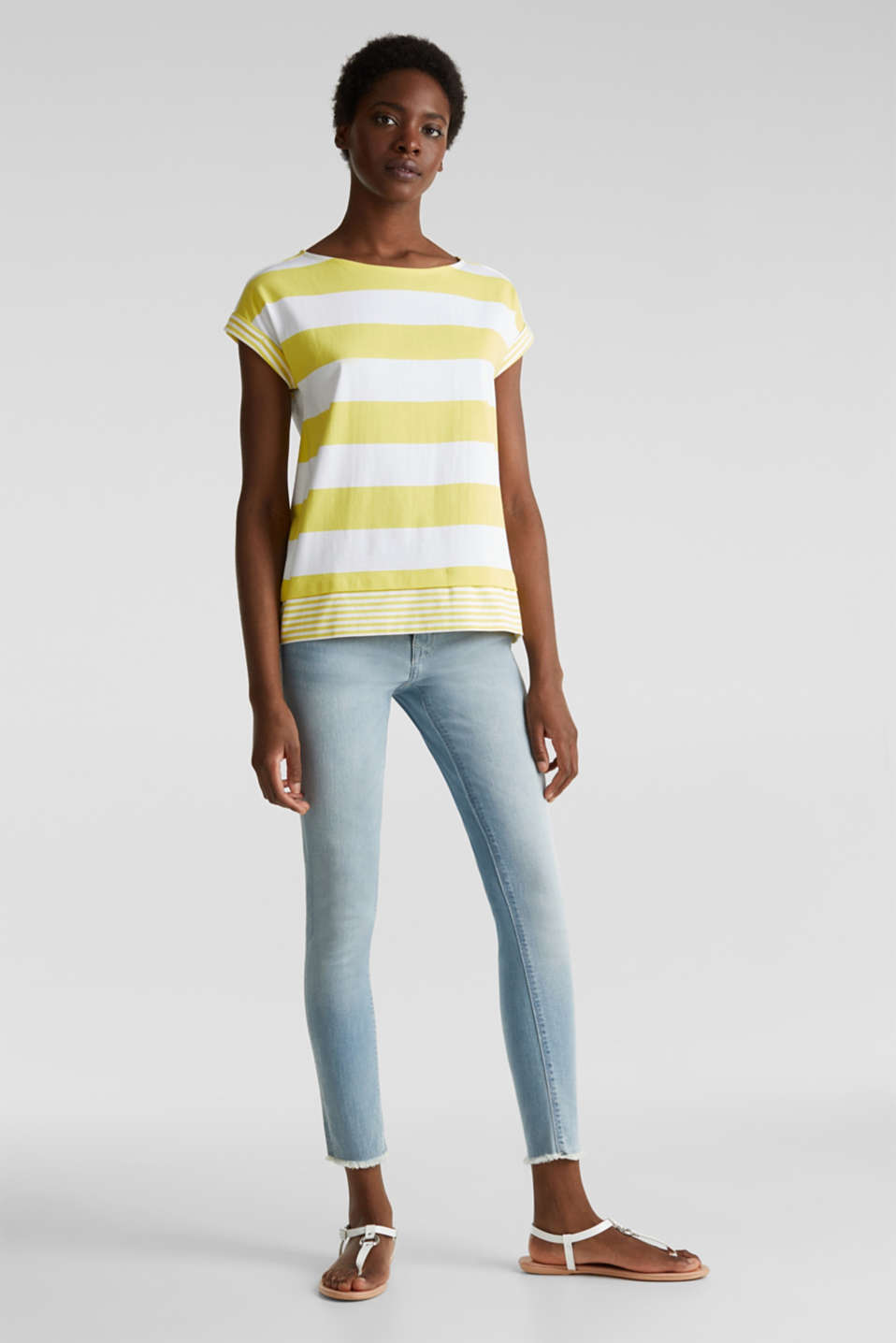 Striped top made of 100% organic cotton, BRIGHT YELLOW 4, detail image number 1