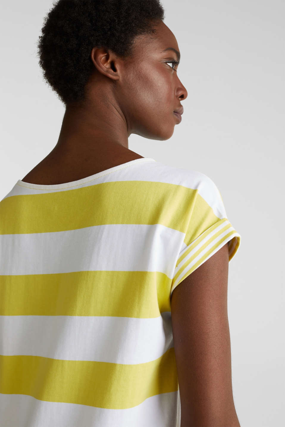 Striped top made of 100% organic cotton, BRIGHT YELLOW 4, detail image number 2