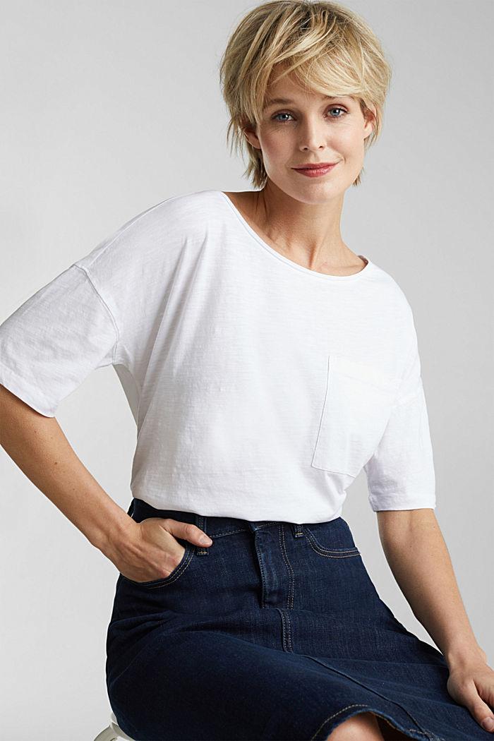 Taskullinen paita 100 % luomupuuvillaa, WHITE, detail image number 0