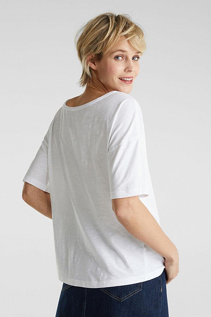 Taskullinen paita 100 % luomupuuvillaa, WHITE, detail image number 3