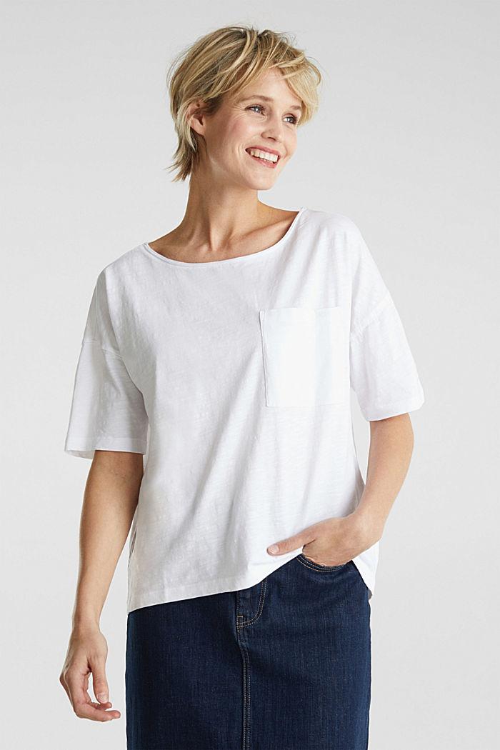 Taskullinen paita 100 % luomupuuvillaa, WHITE, detail image number 6