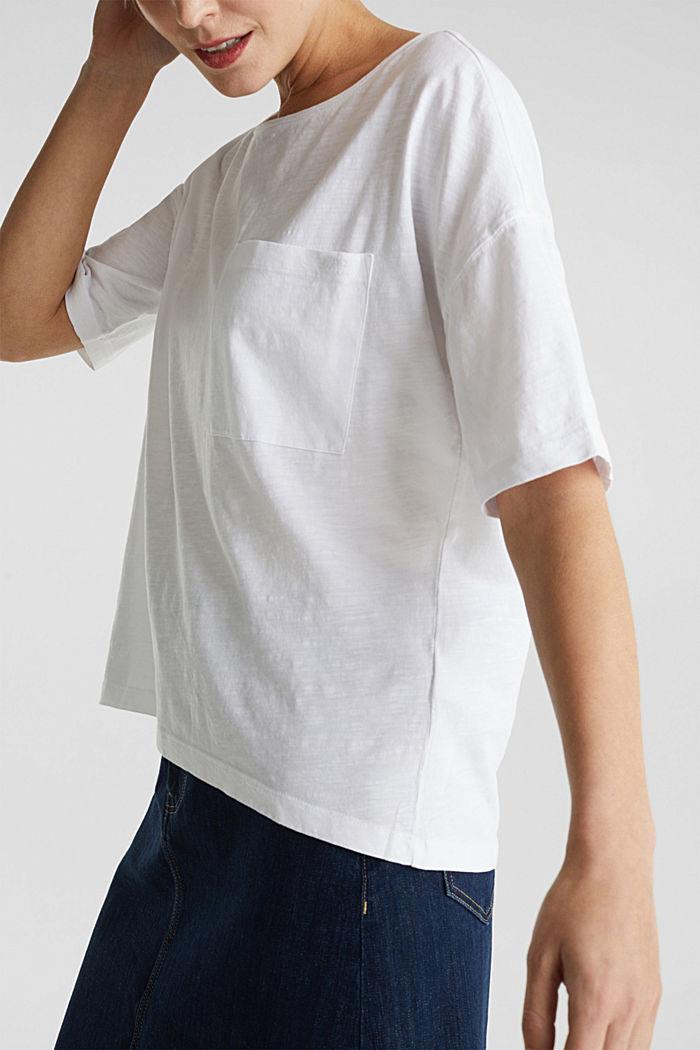 Taskullinen paita 100 % luomupuuvillaa, WHITE, detail image number 2
