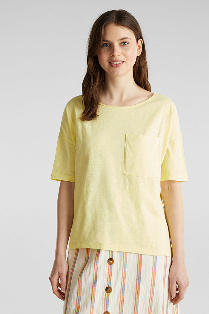 T-shirt with a pocket, 100% organic cotton, LIME YELLOW, detail image number 0