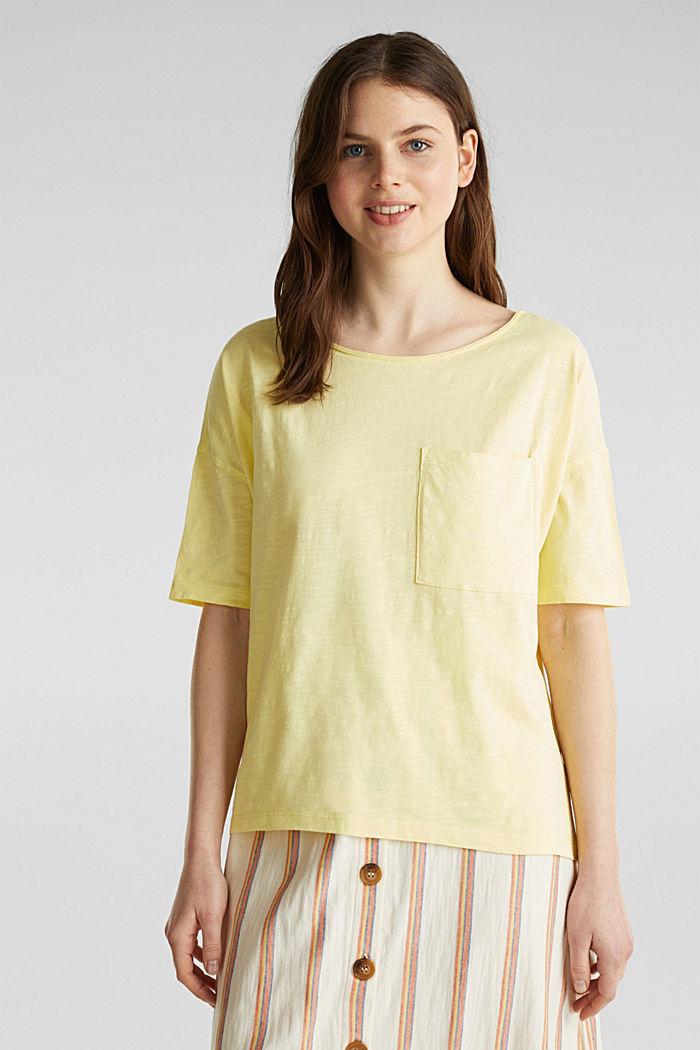 T-shirt à poche, 100% coton biologique, LIME YELLOW, detail image number 0