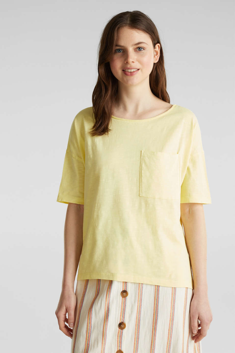 Esprit - Shirt met zak, 100% organic cotton