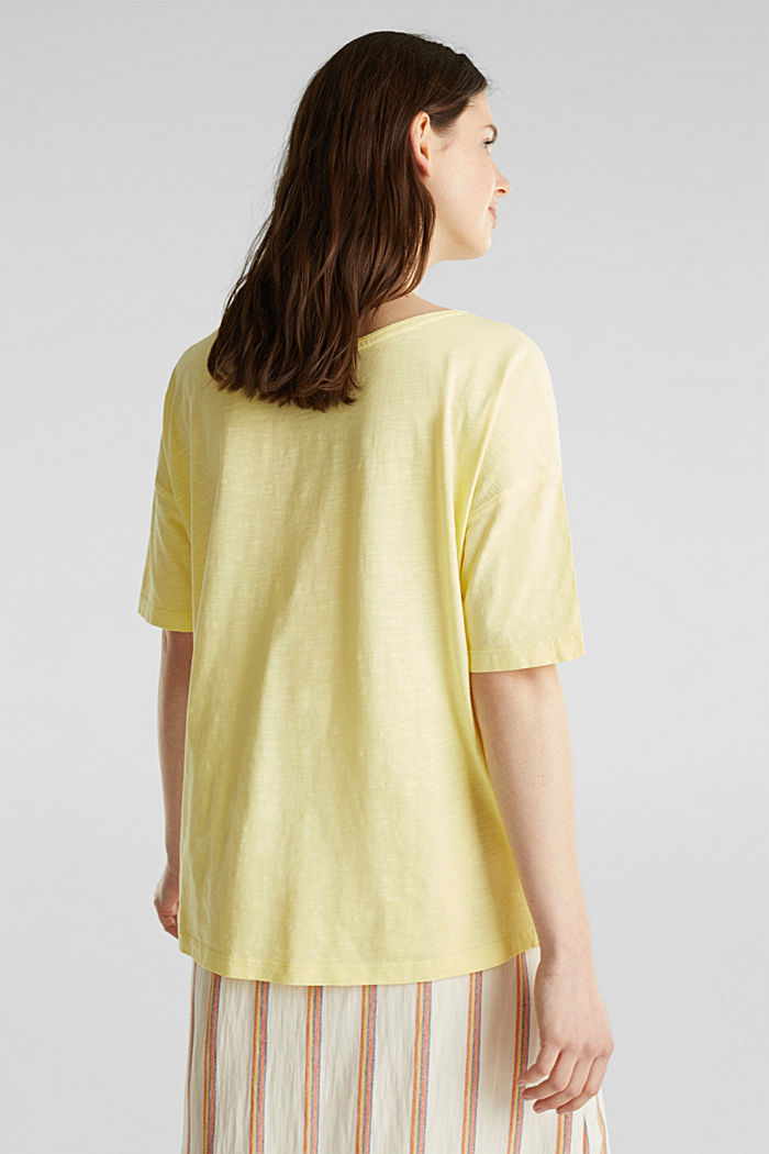 T-shirt with a pocket, 100% organic cotton, LIME YELLOW, detail image number 3