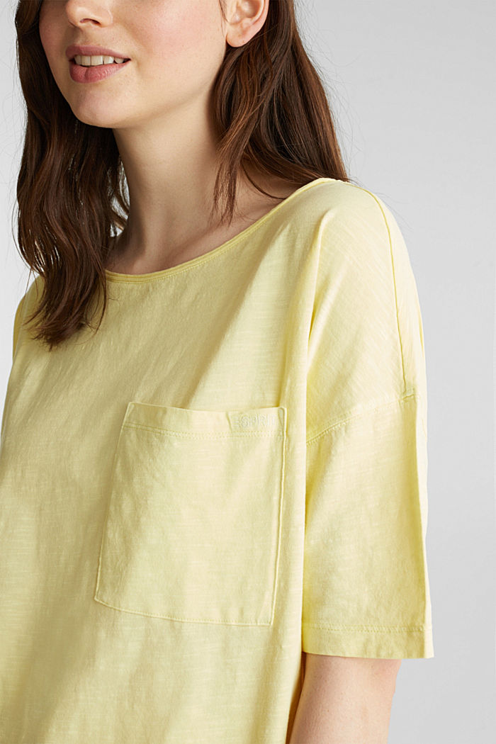 T-shirt with a pocket, 100% organic cotton, LIME YELLOW, detail image number 2