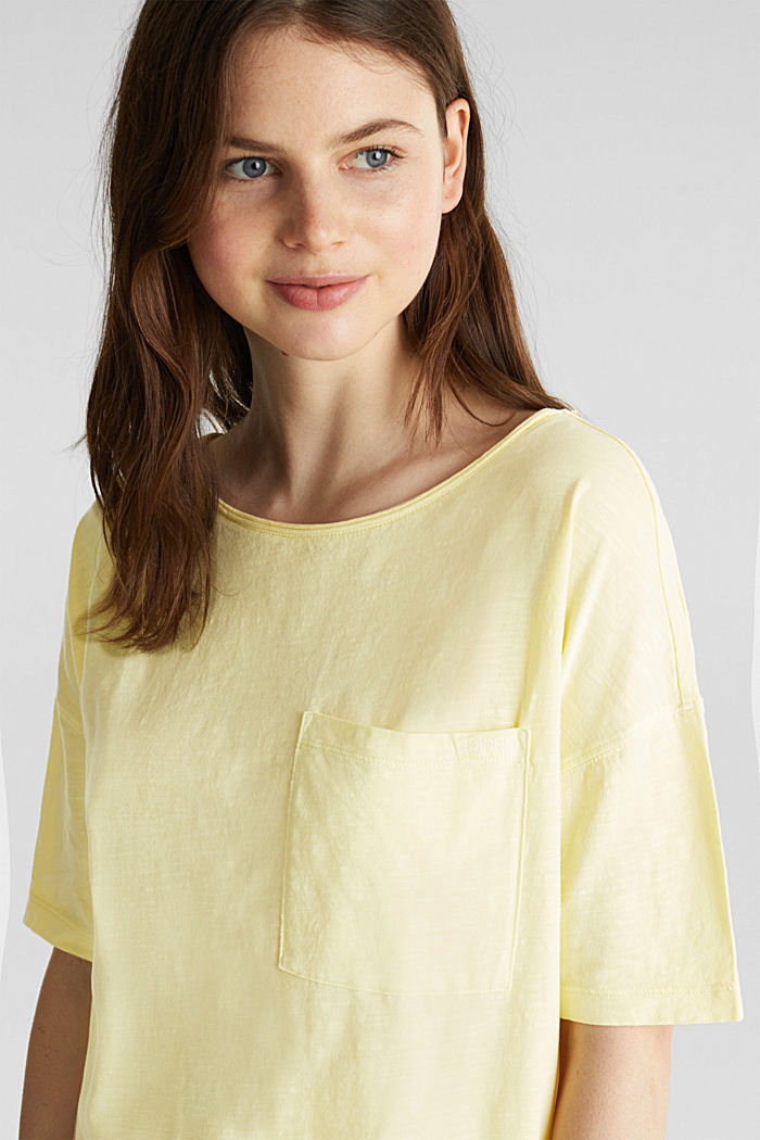 T-shirt with a pocket, 100% organic cotton, LIME YELLOW, detail image number 7