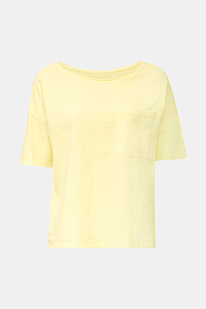T-shirt with a pocket, 100% organic cotton, LIME YELLOW, overview