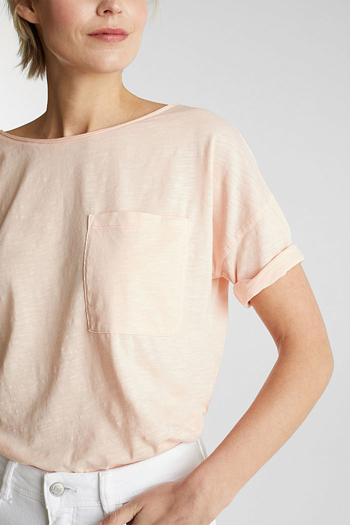 T-shirt with a pocket, 100% organic cotton, PEACH, detail image number 2