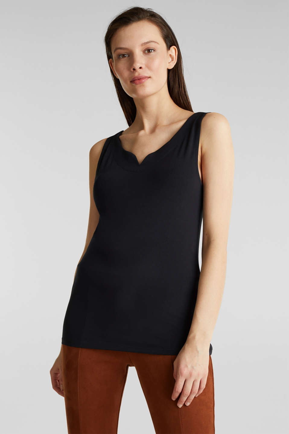 Stretch top with organic cotton, BLACK, detail image number 0