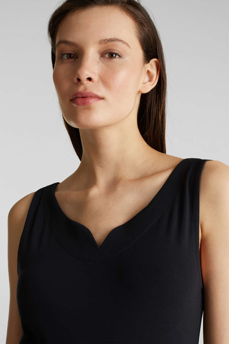 Stretch top with organic cotton, BLACK, detail image number 5