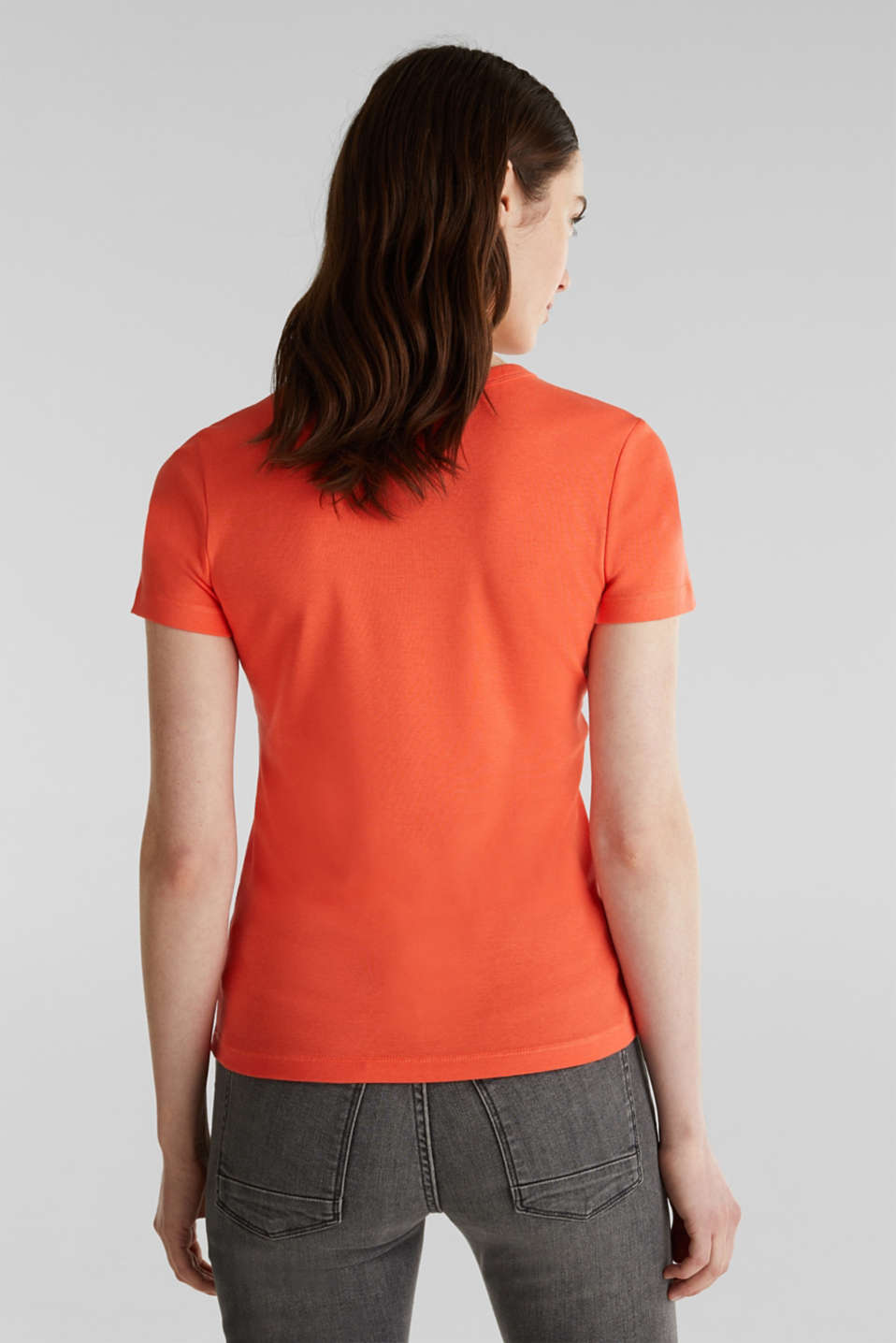 Basic T-shirt in 100% organic cotton, CORAL 4, detail image number 3