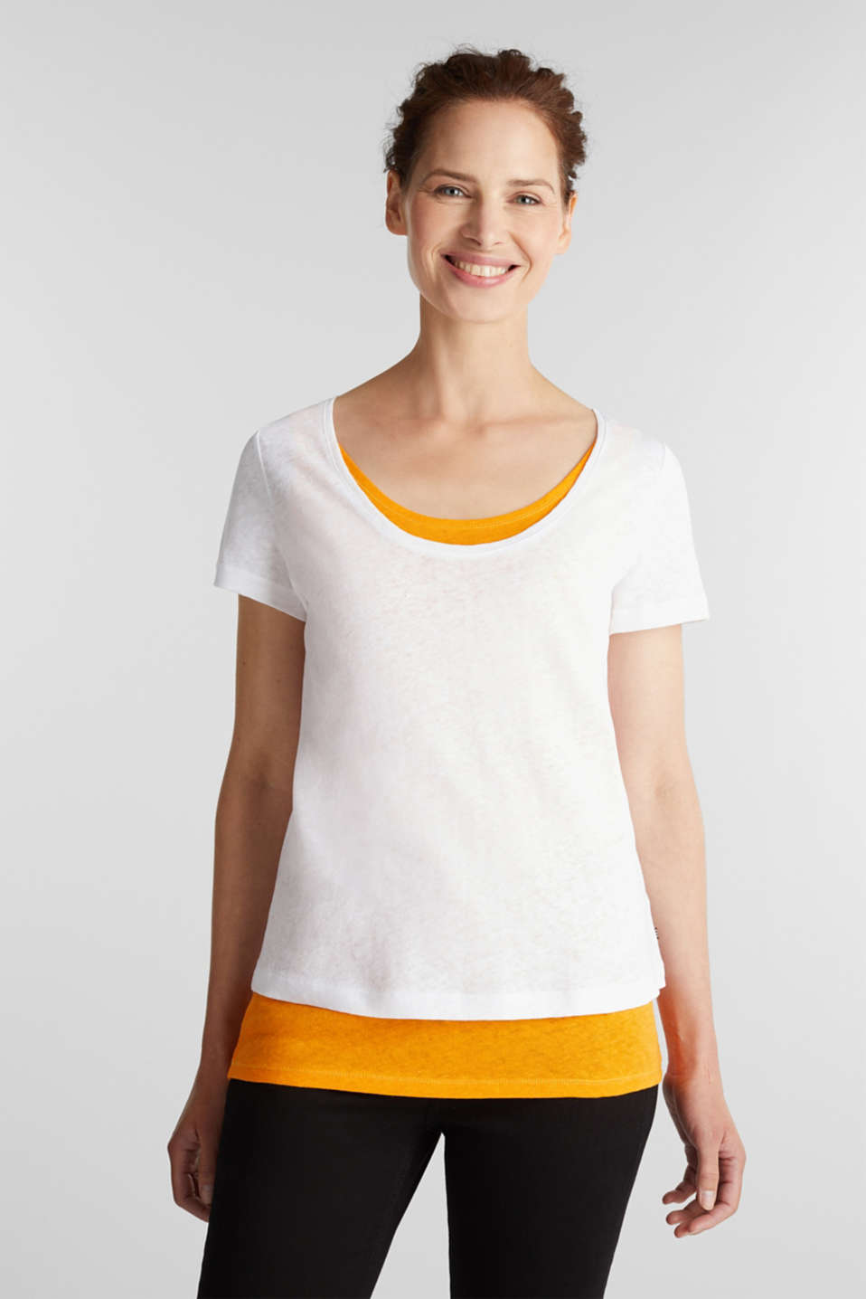 Esprit - Linen blend: Layered look T-shirt