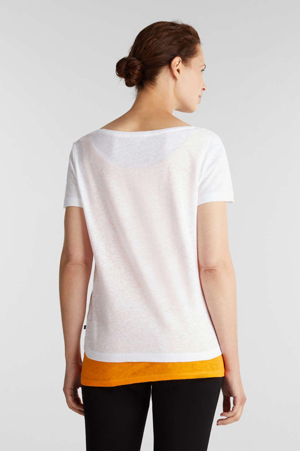 Linen blend: Layered look T-shirt, WHITE, detail image number 3